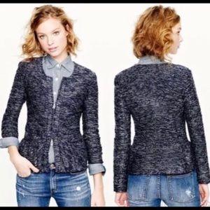 J Crew Boucle Peplum Tweed Navy Blazer Size XXS